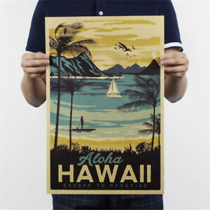 retro-hawaii-poster-office-kraft-paper-bar-cafe-home-decor-painting-wall-sticLA