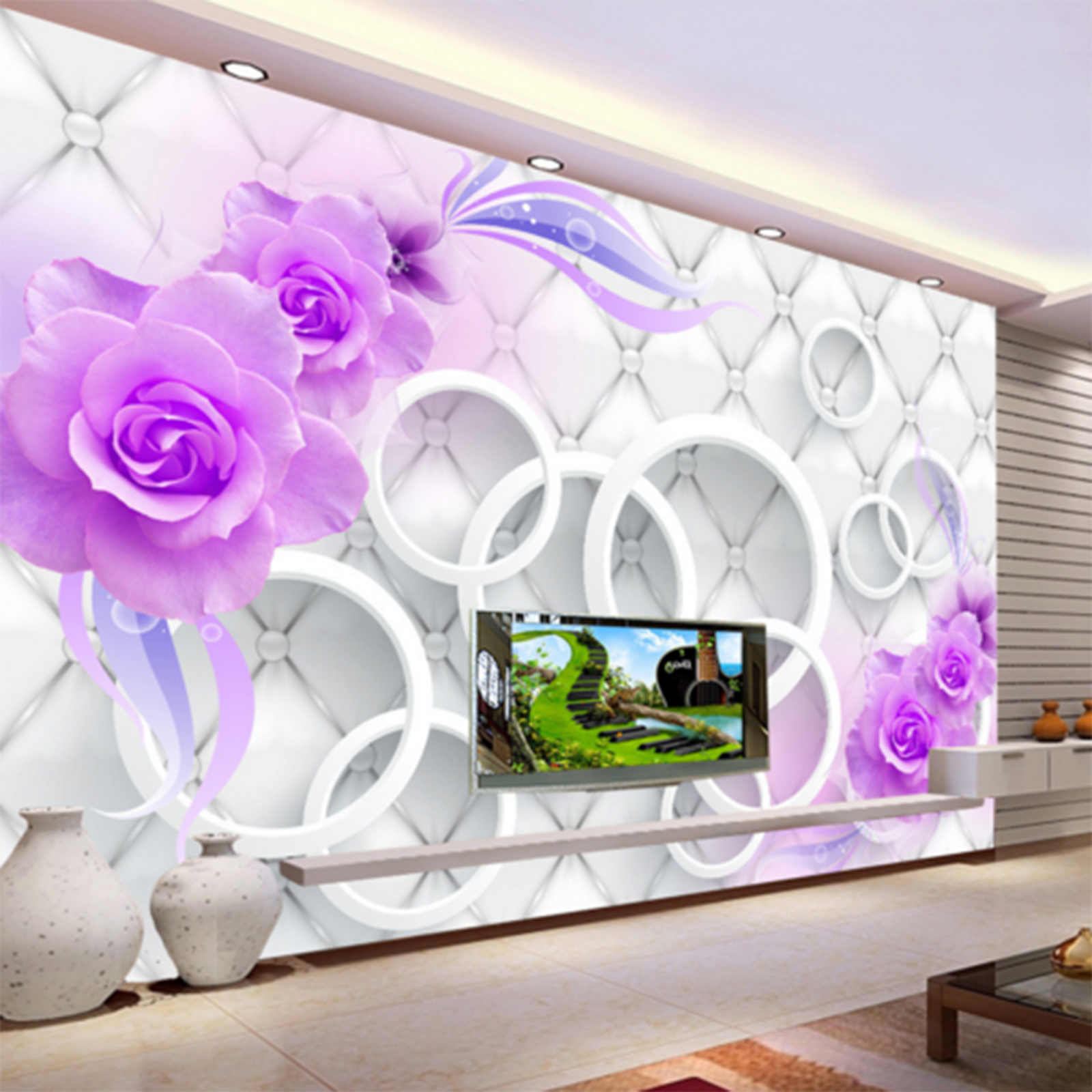 3D Flowers Adorn Circle Paper Wall Print Wall Decal Wall Deco Indoor Murals
