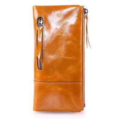 New Women Genuine Leather Wallet Zipper Bifold Long Purse Waxy Clutch Checkbook