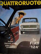 Quattroruote 124 1966 Prove Fulvia coupé, Simca 1000 automatica. Fiat 124 Q.60