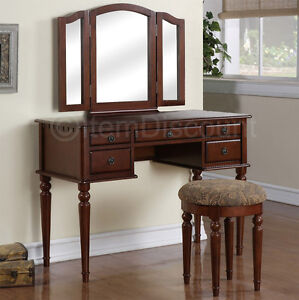Cherry Wood Tri Fold Vanity Makeup Mirror Table Set Dresser Drawer Bench Bedr