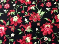 1/2 Yard Of Christmas Floral Pattern On Black Quilting Fabric - Q124
