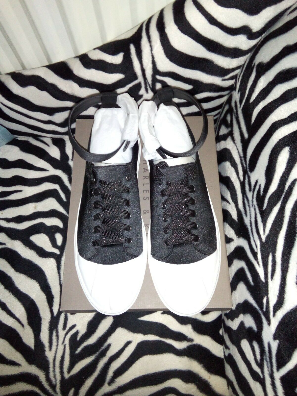 Womens Charles And Keith Black  Ankle Strap Sneakers. Size 41 EUR UK 8 BNWB