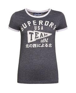 New Womens Superdry Team Ringer T-Shirt Grit Navy