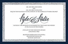 Wedding Invitations Simple Glitter  - 50 Invitations & RSVP Cards Any Colors