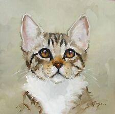 Original Oil painting - portrait of a cat  - by j payne