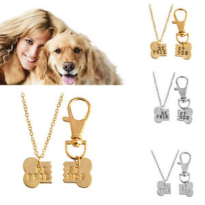 2Pcs-set-Best-Friends-Bone-Shape-Pet-Lover-amp-dog-Necklace-Puppy-Owner-Friend-Gift