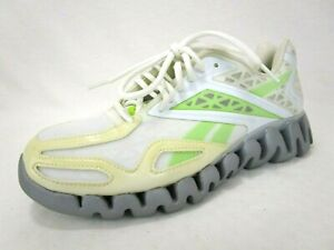 Reebok-Womens-Athletic-Running-Shoes-Sz-10-5-Zigtech-Sneakers-White-Green