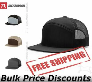 Richardson-Seven-Panel-Trucker-Cap-Blank-Plain-Ball-Hat-168-Snapback