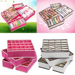 4pcs-Foldable-Organizer-Tidy-Storage-Drawer-Box-For-Bra-Ties-Underwear-Socks