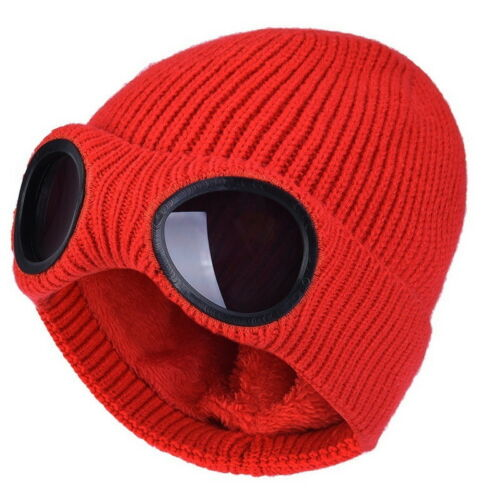 HOT Warm Goggle Beanie Knitted Woolly Womens Winter Hats Xmas Christmas Gift YT