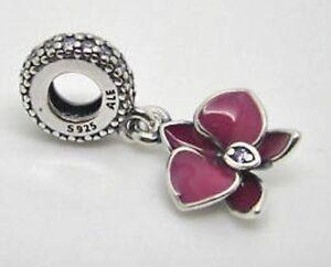 New Authentic Pandora Violet Orchidée charme avec Pandora Tag ...