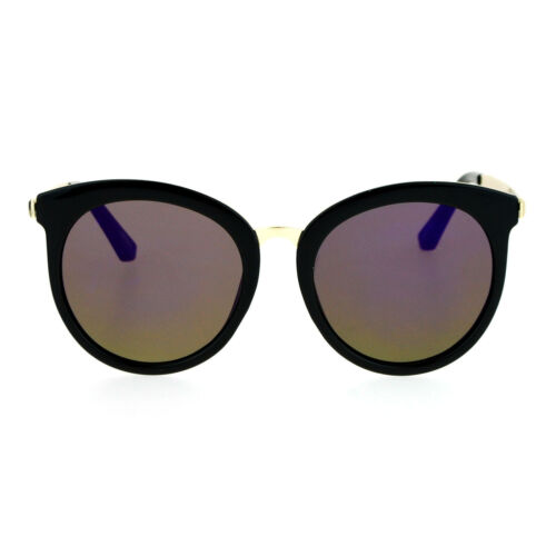 SA106 Retro Flat Mirror Lens Womens Horn Rim Cat Eye Sunglasses