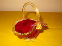 VINTAGE MURANO GOLD SPECKS/RUBY RED GLASS VENINI VASE/BOWL/BASKET, wide 4.5""