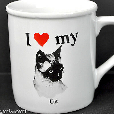 Cat I Love Heart My Siamese Vtg Coffee Mug Tea Cup Papel Strand USA Made Ceramic