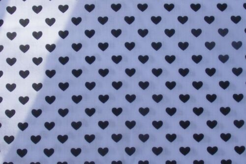1:12 Scale White Cotton Material With Small Black Hearts Tumdee Dolls House M8