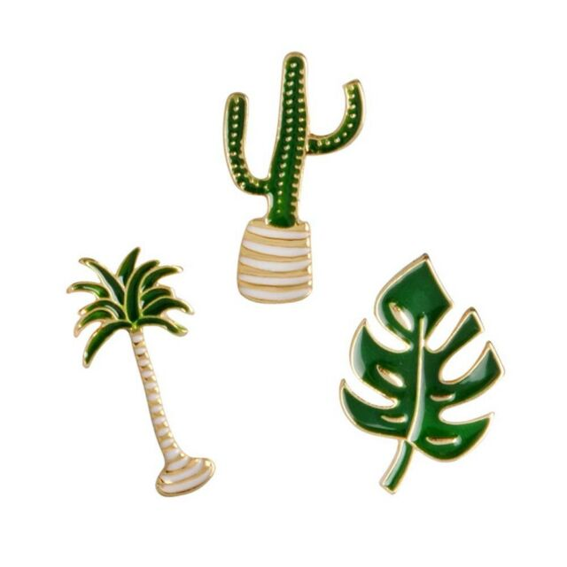 3 Piece/Set Cute Alloy Coconut Tree Leaf Cactus Brooch Pin Fashion Jewelry