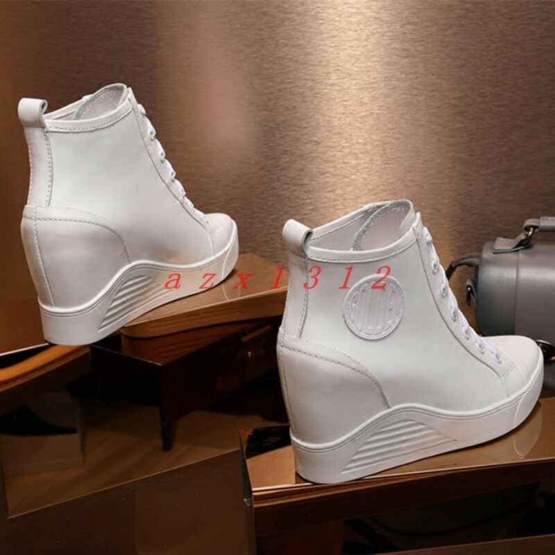 Women Pointy Toe High Conceal Wedge Heel Lace Up Ankle Boot shoes Sneaker Leather