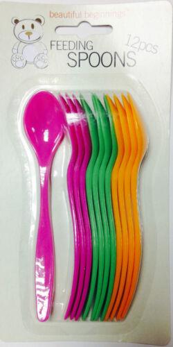 New Beautiful Beginnings 12PCS en plastique réutilisable Bébé Alimentation Cuillères Set Enfants