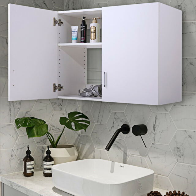 White Wall Mount Storage Cabinet Laundry Kitchen Bathroom Shelf Unit 2 Door