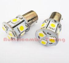 COPPIA LAMPADE LAMPADINE BA15S 9 LED 5050 SMD 12V LUCE BIANCA