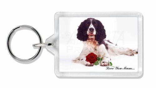 Springer with Rose /'Love You Mum/' Photo Keyring Animal Gift AD-SS7RlymK