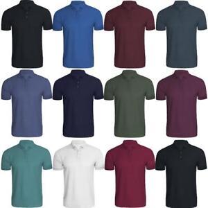 Polo-Camisa-Polo-De-Algodon-Para-Hombre-Premium-Llanura-de-manga-corta-Top