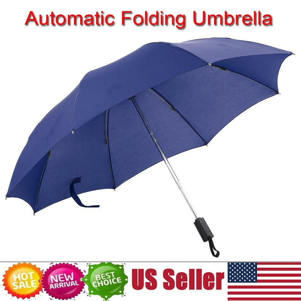 XMXWQ Umbrella,8 Ribs Three Fold Automatic Opening and Closing Umbrella Solid Color Folding High-End Sun Umbrella