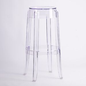 Clear Ghost Transparent Bar Stool Contemporary Modern Style Barstool