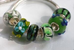 6-x-Beads-Sterlingsilber-und-Glasperle-AUS-ECHTEM-SILBER-und-Glas-gruen