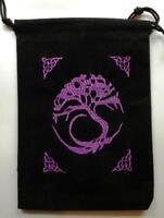Black Velveteen Tree Of Life Tarot, Crystal Or Rune Bag