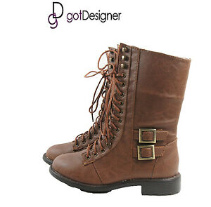 NEW-Womens-Fashion-Shoes-Military-Combat-Boots-Mid-Calf-Lace-Up-Tan-Buckle-Zip