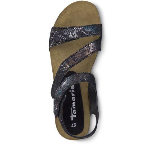 Ladies Tamaris 28381 Black Reptile Print Leather Slingback Strap Wedge Sandals