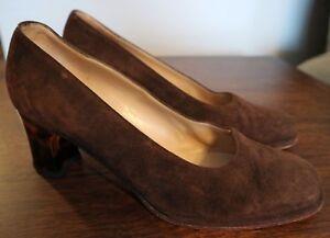 dfecb2d970cde Details about VTG 80s Vintage Salvatore Ferragamo Pumps Heels - Brown Suede  Leather - Size 7