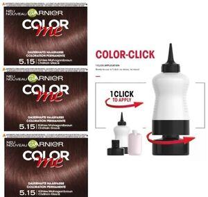 Details zu 3 x Garnier Color Me Permanent Hair Dye Colour - 5.15 Cool Mahogany Brown