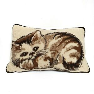 Vintage-Cat-Accent-Pillow-Wool-Ivory-Decorative-Rectangle-Cover-Insert-Germany