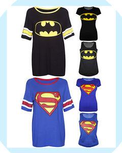 Superman-Batman-Print-Ladies-Varsity-Baseball-Vest-T-Shirt-Top-Size-08-10-12-14