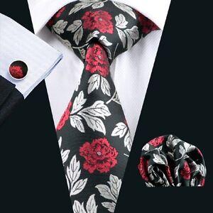 USA-Classic-Floral-Mens-Tie-Black-Red-Silk-Necktie-Hanky-Cufflinks-Wedding-348