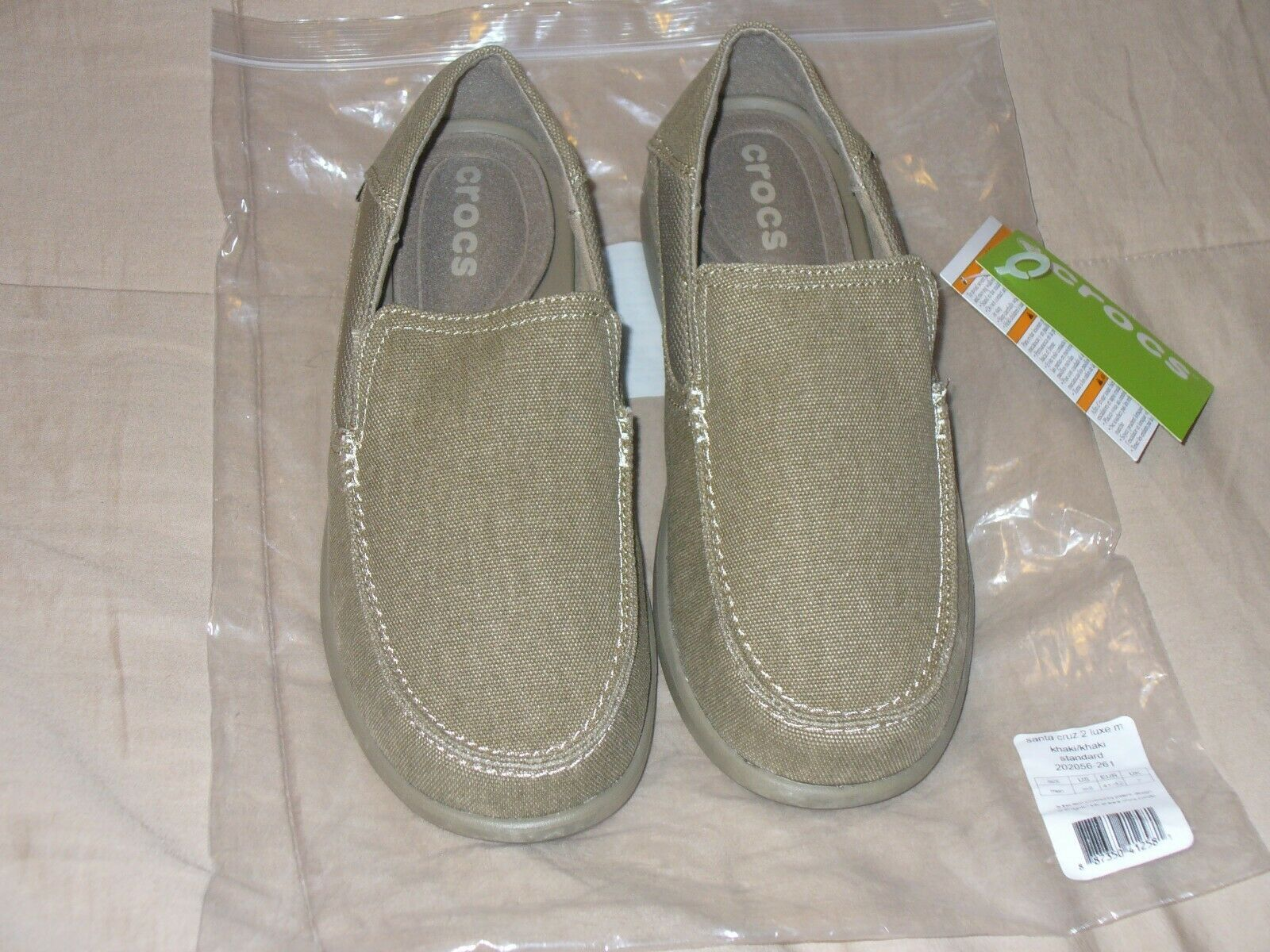 Crocs Santa Cruz 2 Luxe Memory Foam Loafer Slip on shoes KHAKI Mens Size 8M NWT