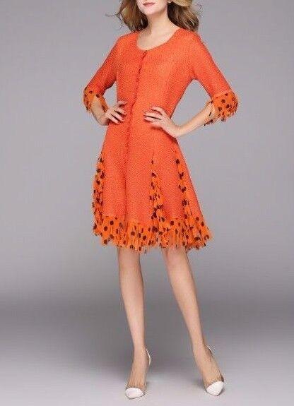Jerry T Stretchy Dress S Small Plus Size Party Dress Halloween orange SR118