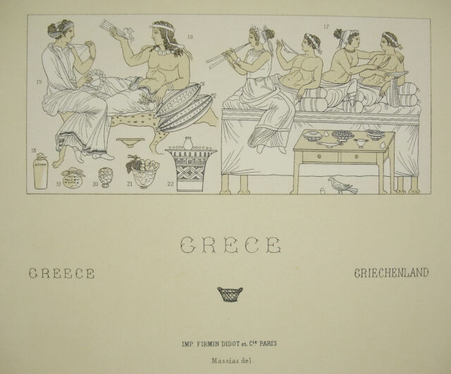Suits Traditional Greece Antique Massias Del c1888 Lithography Firmin Didot
