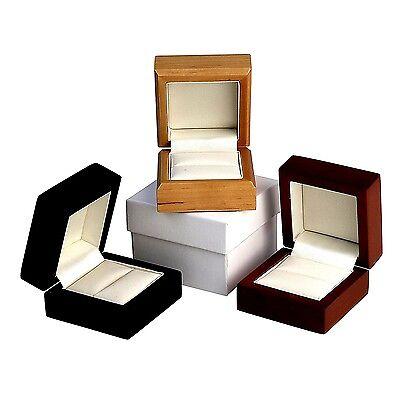 Bois Cuir Anneau Boîte Bracelet Pendentif Engagement Diamant Anniversaire FREE POST