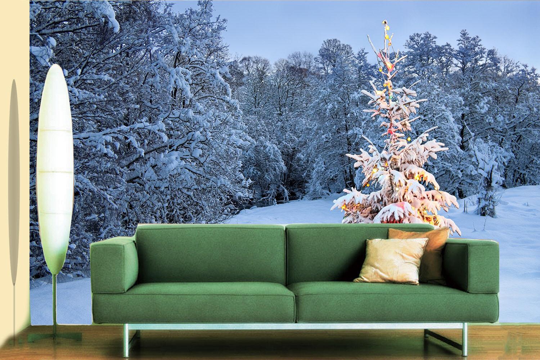 Papel Pintado Mural De Vellón Árbol De Navidad Nieve 2 Paisaje Fondo De Pansize