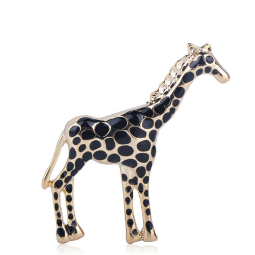 Brown Enamel Giraffe Brooches Gold Plated Animal Brooch Pin Lady Gift Party