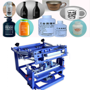 Bottle with 2 Frame Manual Cylinder Curved Screen Printing Press for Cup Mug