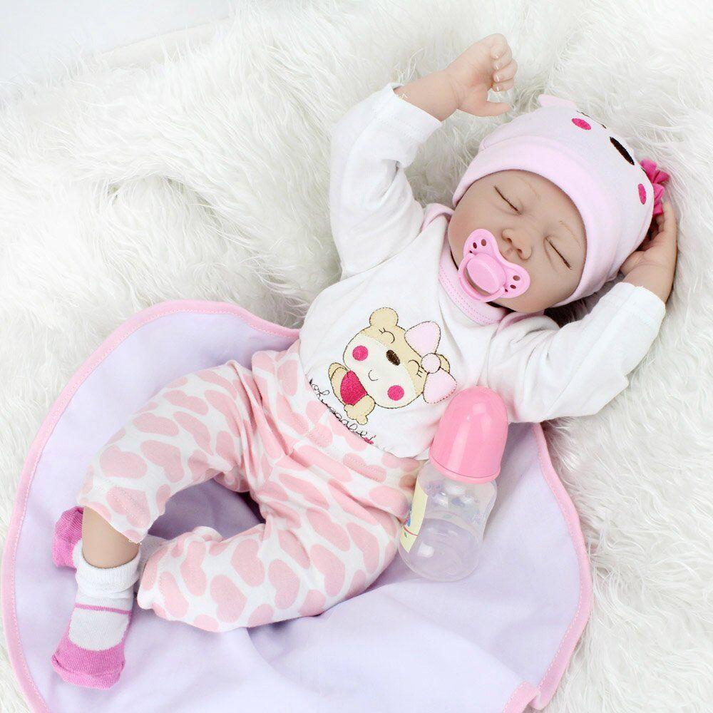 Realistico RINATO BABY NEONATO Sleeping Girl Bambola realistica vinile in silicone regalo buona condizione