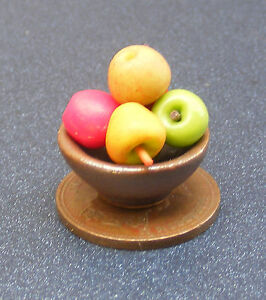 1-12-Scale-5-Mixed-Apples-In-A-Brown-Ceramic-Bowl-Dolls-House-Fruit-Accessory