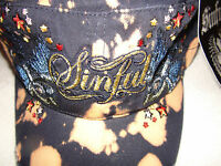 Sinful By Affliction Woman Star Hat Tie Die Blue Bird Military Adjustable