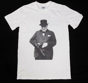 Winston Churchill Tommy Gun White T Shirt Size S Xxxl British