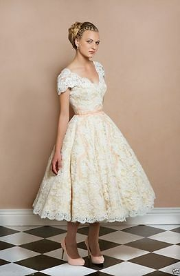New lace Wedding dress Tea Length Bridal Gown Party Prom dress Size 6+++++16